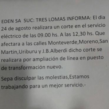 CORTE DE ENERGIA EL JUEVES 24. SERA ENTRE LAS 9 Y LAS 12,30 HORAS EN UN SECTOR DE LA CIUDAD