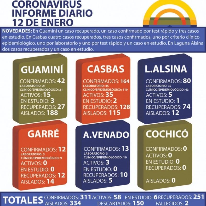 CORONAVIRUS: INFORME DIARIO DE SITUACIÓN A NIVEL NACIONAL Y LOCAL - 12 DE ENERO -