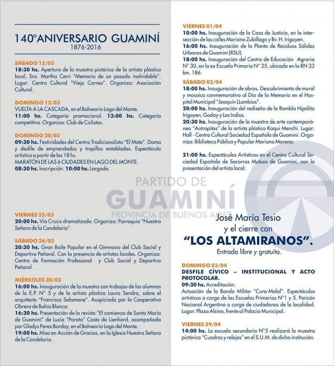 GUAMINÍ PALPITA EL 140° ANIVERSARIO CON UN CRONOGRAMA REPLETO DE ACTIVIDADES