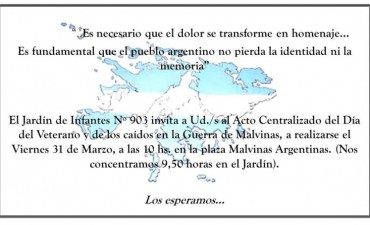 EL JARDIN 903 ORGANIZA EL ACTO CENTRALIZADO DEL DIA DEL VETERANO Y DE LOS CAIDOS EN MALVINAS