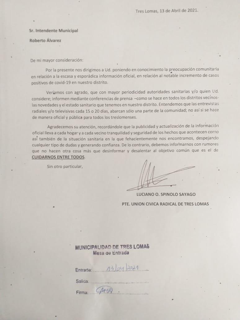 LA UCR RECLAMA AL INTENDENTE MEJOR COMUNICACIÓN