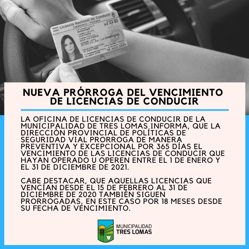 NUEVA PRÓRROGA DEL VENCIMIENTO PARA LICENCIAS DE CONDUCIR