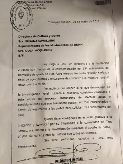 EL FISCAL MANUEL IGLESIAS SE EXCUSO DE PARTICIPAR DE LA MUESTRA INTERACTIVA