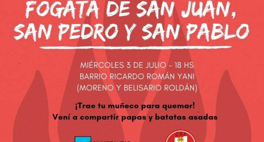 LA FOGATA DE SAN JUAN, SAN PEDRO Y SAN PABLO SE REALIZARA EL 3 DE JULIO