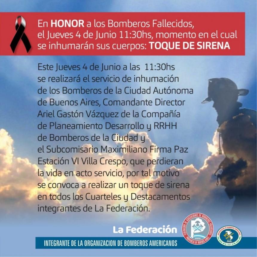 A LAS 11,30 SONARA LA SIRENA DE BOMBEROS PARA RECORDAR A LOS EFECTIVOS CAIDOS