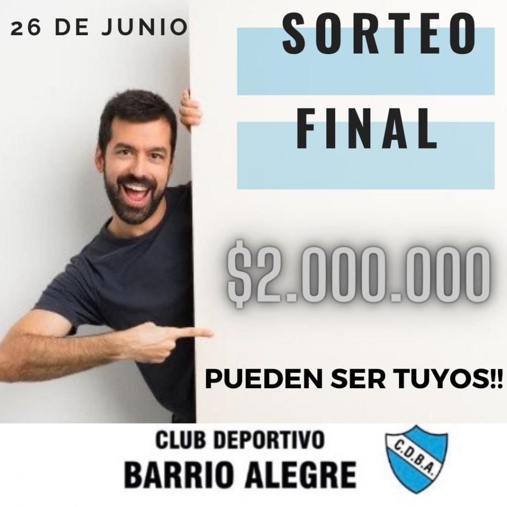 LOS DOS MILLONES DE BARRIO ALEGRE FUERON PARA UN TRESLOMENSE