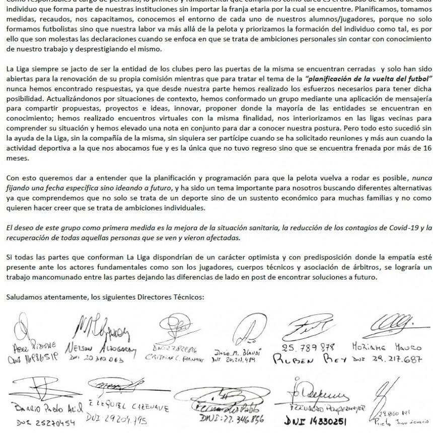 NUEVA NOTA DE LOS TECNICOS A LA LIGA CULTURAL DEPORTIVA: