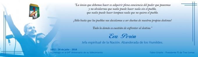 EL PJ RECUERDA A EVITA A LAS 16 HORAS Y EL FRENTE RENOVADOR A LAS 18