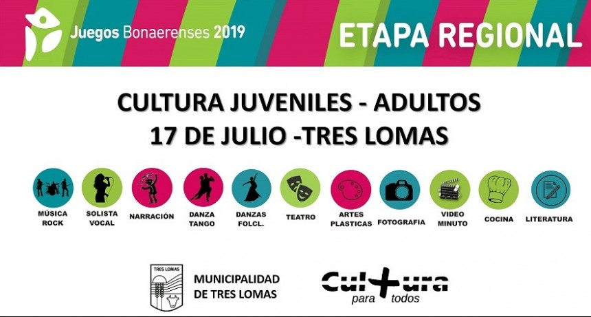 TRES LOMAS RECIBE LA ETAPA REGIONAL DE CULTURA DE LOS JUEGOS BONAERENSES 2019