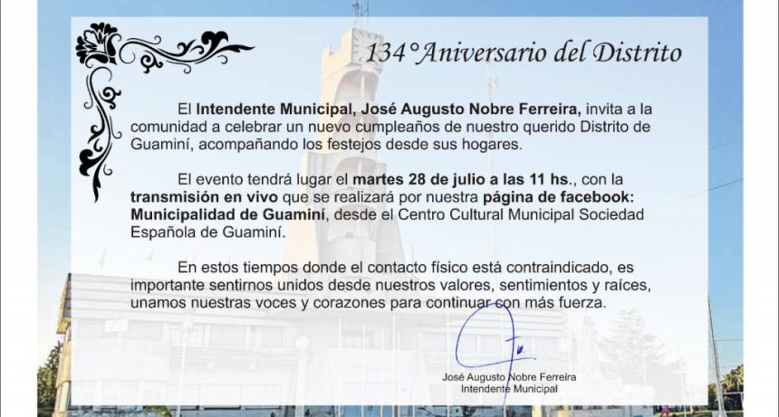 134° ANIVERSARIO DEL DISTRITO DE GUAMINÍ