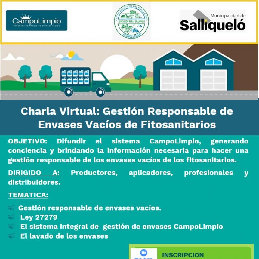 GESTIÓN RESPONSABLE DE ENVASES VACÍOS DE FITOSANITARIOS: CHARLA VIRTUAL