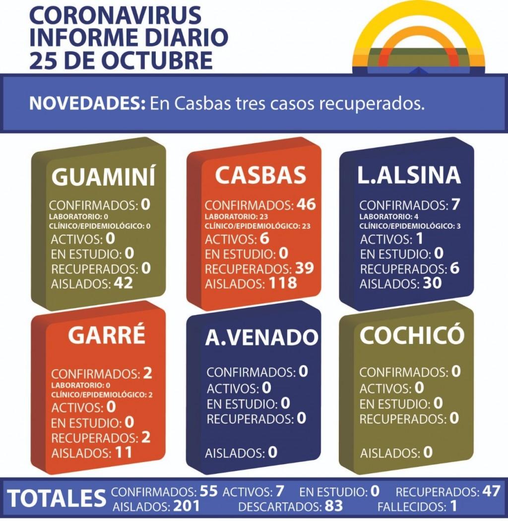 CORONAVIRUS: INFORME DIARIO DE SITUACIÓN A NIVEL NACIONAL Y LOCAL - 25 DE OCTUBRE -