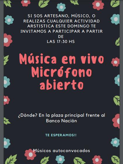 ESTE DOMINGO 23 HABRÁ MÚSICA EN LA PLAZA PRINCIPAL
