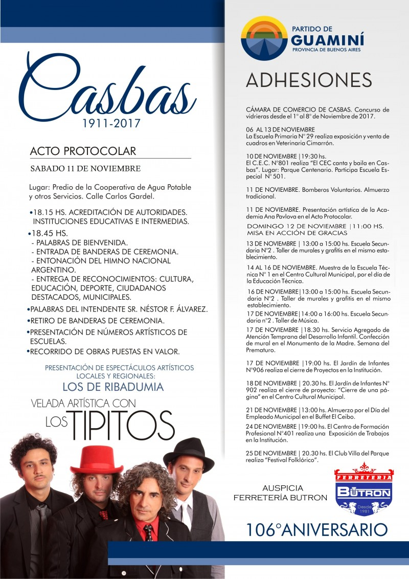 """CASBAS PALPITA SU 106° ANIVERSARIO REPLETO DE ACTIVIDADES Y CON LA MÚSICA DE """"LOS TIPITOS"""""""