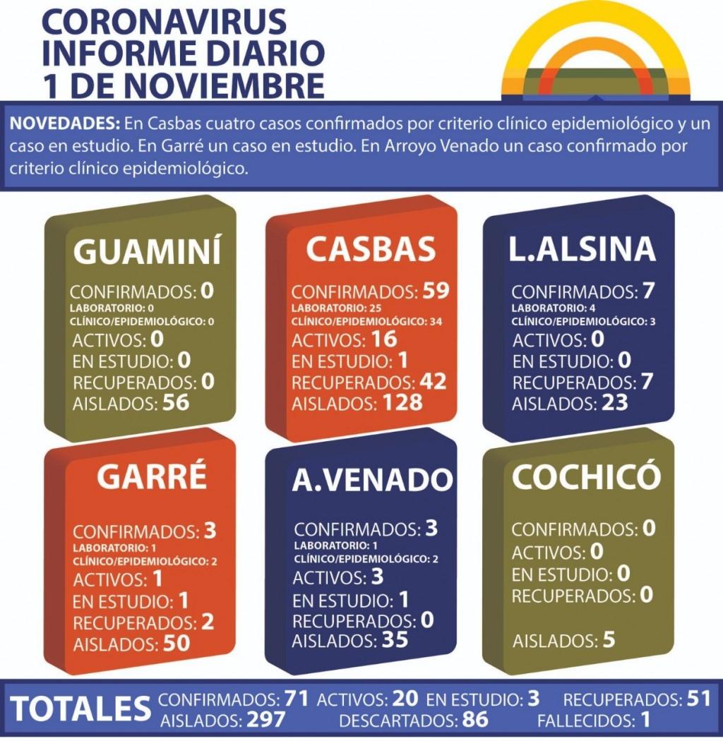 CORONAVIRUS: INFORME DIARIO DE SITUACIÓN A NIVEL NACIONAL Y LOCAL - 1 DE NOVIEMBRE -