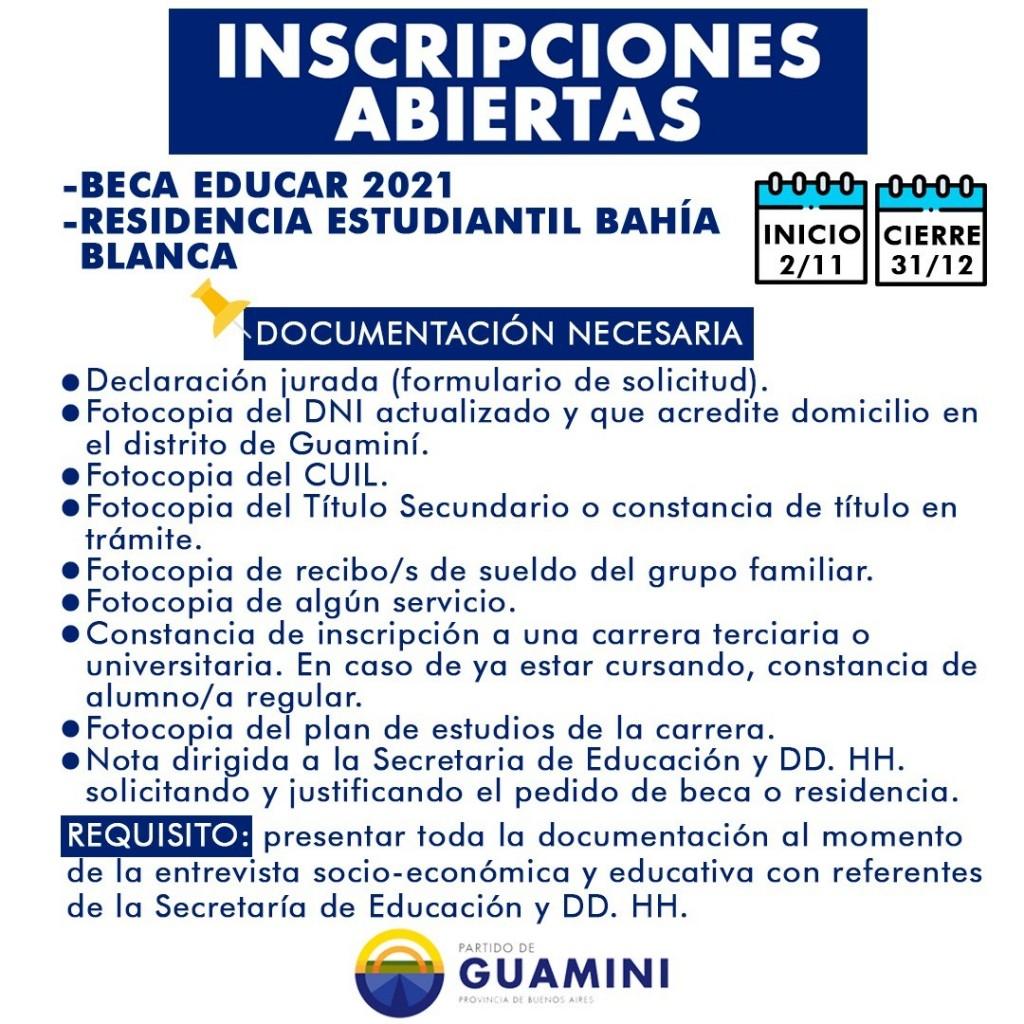 RESIDENCIA ESTUDIANTIL EN BAHÍA BLANCA Y BECA EDUCAR 2021