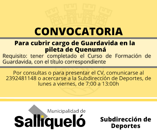 CONVOCATORIA PARA CUBRIR EL CARGO DE GUARDAVIDA