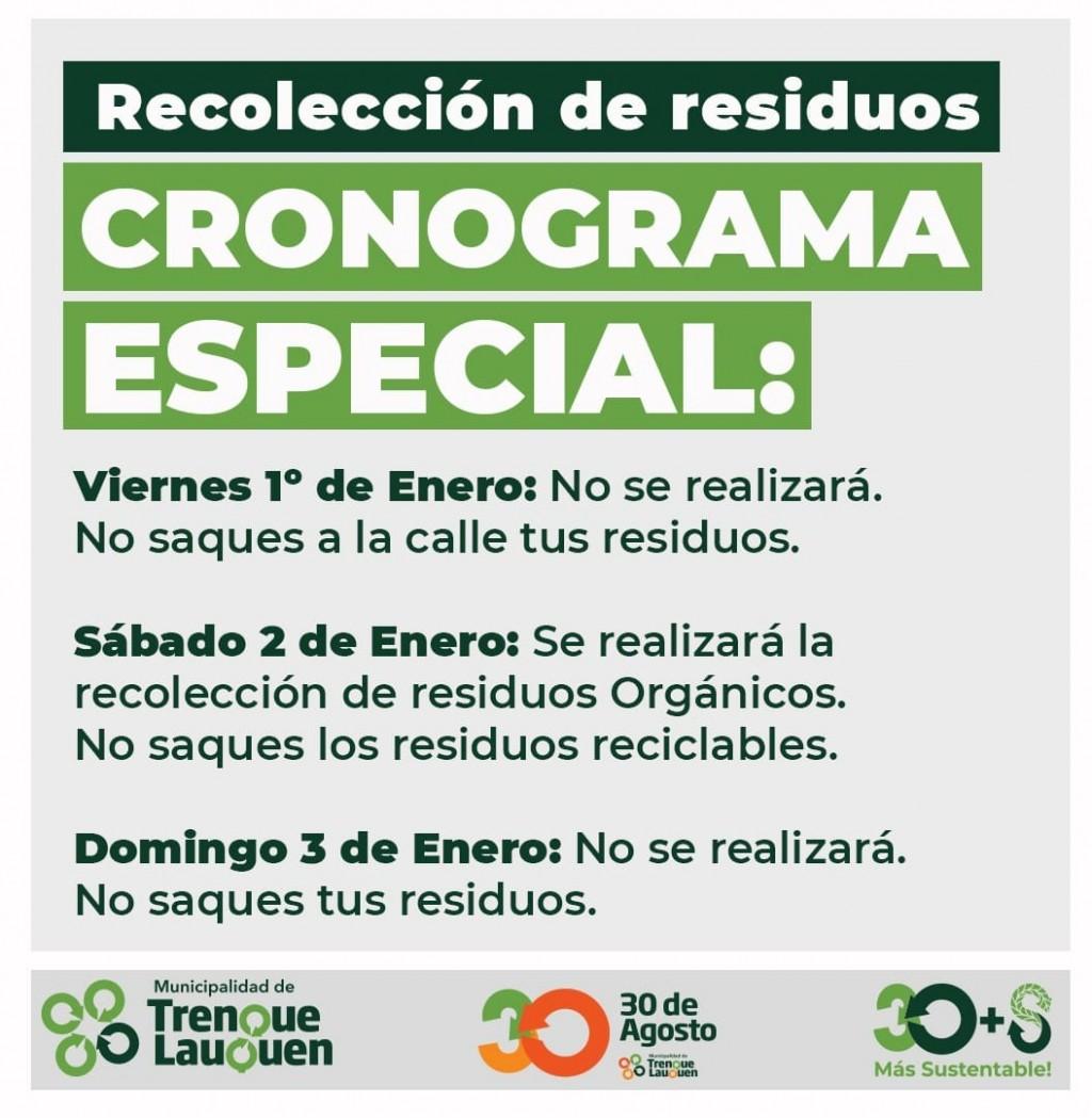 RECOLECCIÓN DE RESIDUOS - CRONOGRAMA